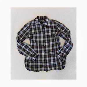 J. Crew Plaid Stripe Button Down Blouse Relaxed S